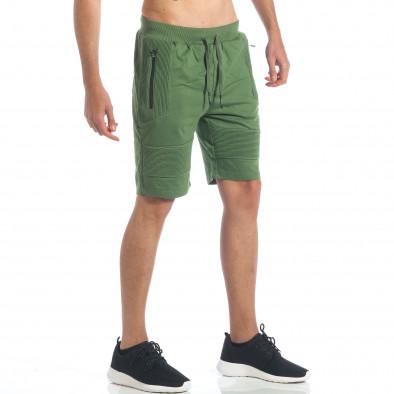 Мъжки зелени шорти с релефни части it190417-18 4