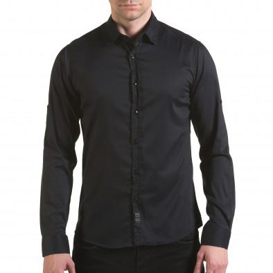Мъжка черна риза с малки разноцветни детайли Buqra 5