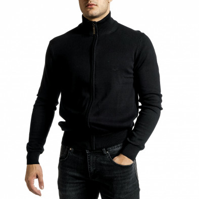 Фина мъжка жилетка с цип в черно tr231220-6 2