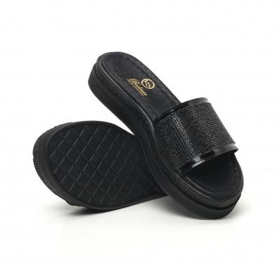 Дамски черни чехли с камъчета tr180320-1 4