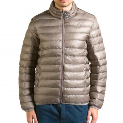 Мъжко бежово-сиво яке със синя подплата it110915-3 2