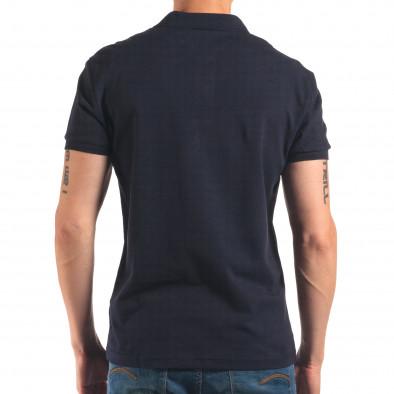 Мъжка синя тениска с яка изчистен модел it150616-36 3