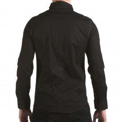 Мъжка черна риза с цип il170216-92 3