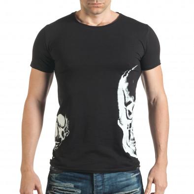 Мъжка черна тениска с 2 черепа il140416-12 2