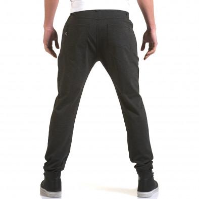 Мъжки тъмно сив панталон с малък детайл отпред it090216-3 3