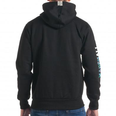 Мъжки черен суичър с надпис на единия ръкав it240816-15 3