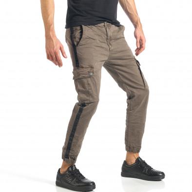 Мъжки зелен карго панталон с ленти отстрани it290118-11 4