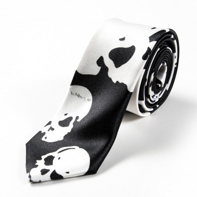 Вратовръзка slim fit  с големи черепи 060213-6 3