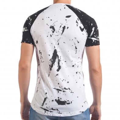 Мъжка бяла тениска с черни ръкави il060616-76 3
