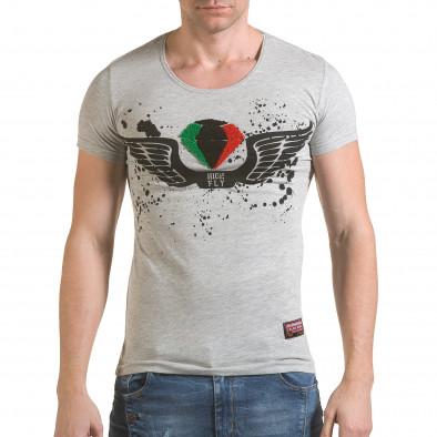 Мъжка сива тениска с принт крила и Италианското знаме il170216-78 2