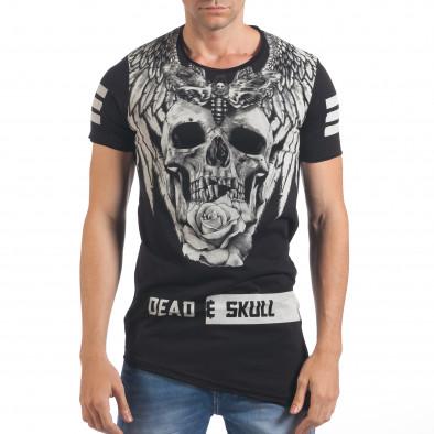 Мъжка черна тениска с голям череп отпред Millionaire 4