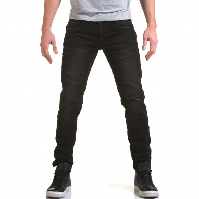 Мъжки черни дънки с прокъсвания на коленете it090216-23 2
