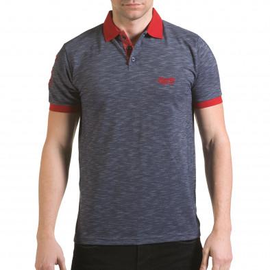 Мъжка синя тениска с червена яка il170216-38 2