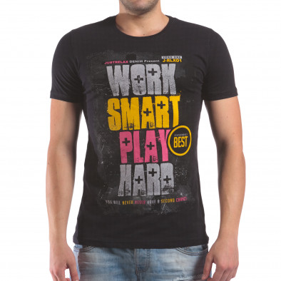 Мъжка черна тениска Work Smart Play Hard il210616-16 2
