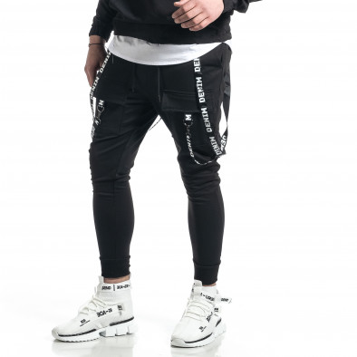 Hip Hop черно долнище с декорирани ленти gr270221-13 4