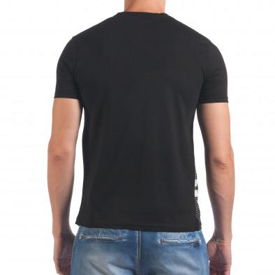 Мъжка черна тениска с точки и принт Millionaire 4