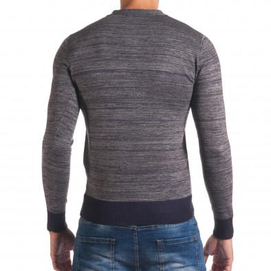 Мъжки синьо-сив пуловер с остро деколте it170816-9 3