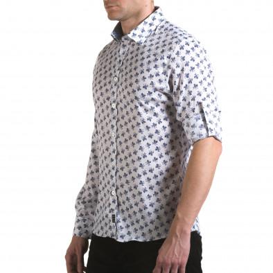 Мъжка бяла риза с флорален принт il170216-126 4