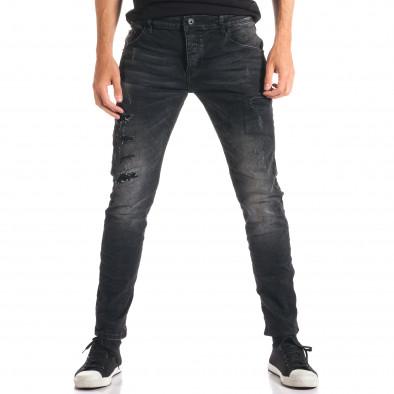 Мъжки тъмно сиви дънки с декоративни кръпки ca280916-2 2