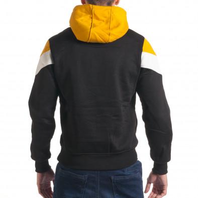 Мъжки черен суичър със жълта и бяла част it240816-66 3