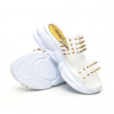 Дамски прозрачни чехли златисти шипове tr180320-7 4