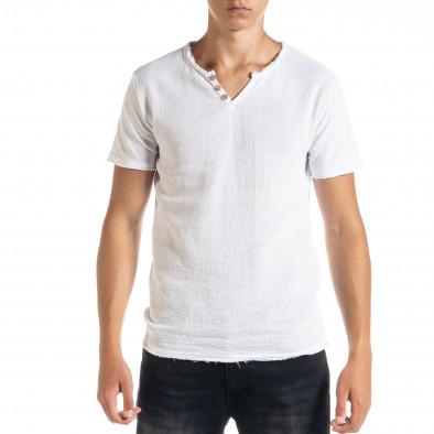 Мъжка тениска от памук и лен в бяло it010720-30 2