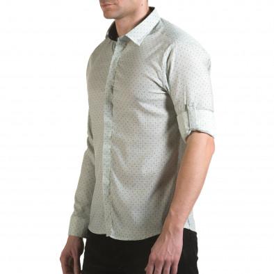 Мъжка зелена риза с малки детайли и скрити копчета il170216-115 4
