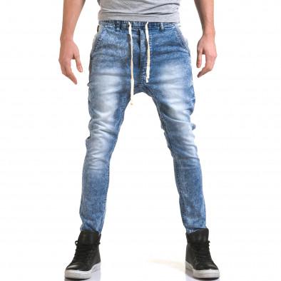 Мъжки светло сини дънки с кройка на долнище it090216-17 2
