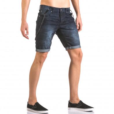 Мъжки къси дънки син камуфлаж с тиранти Justing 5