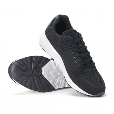Леки мъжки маратонки от черен релефен текстил it020618-21 4