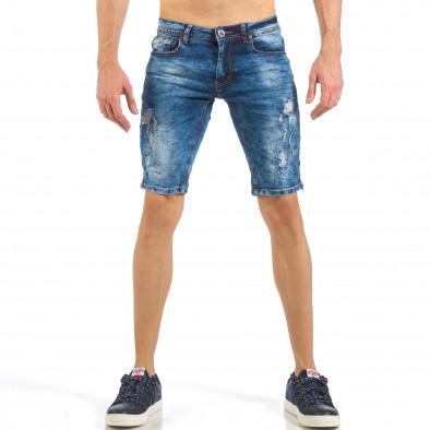 Мъжки тъмно сини къси дънки с трицветни кантове it260318-116 2