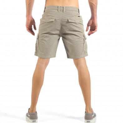 Мъжки къси карго панталони в цвят каки с дребен принт it260318-132 3