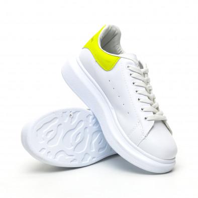 Бели дамски кецове жълта пета tr180320-21 4