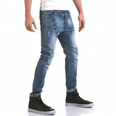 Мъжки светло сини слим дънки с декоративни копчета it090216-5 4