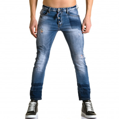 Мъжки светло сини дънки с нестандартно оцветяване X-three 5