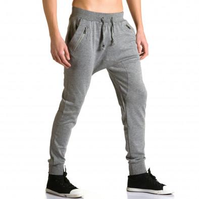 Мъжки светло сиви потури с ципове до джобовете ca190116-17 4