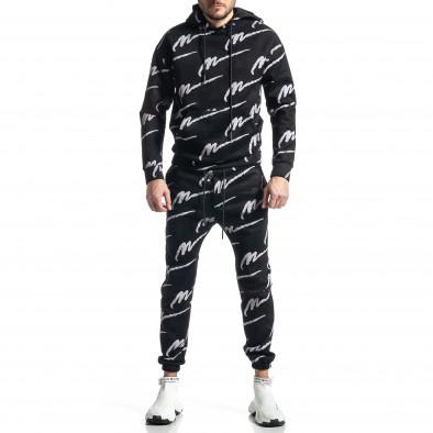 Мъжки черен спортен комплект с принт it010221-63 2