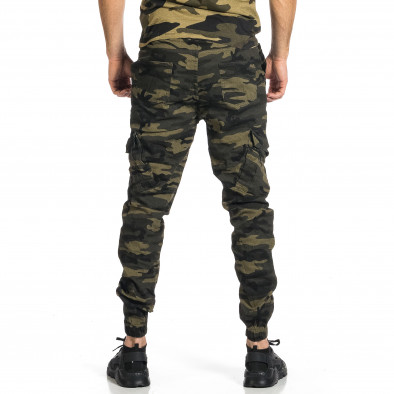 Мъжки карго панталон зелен камуфлаж tr270421-5 3