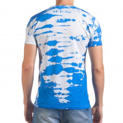 Мъжка бяла тениска със син принт Lagos 4