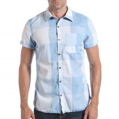 Мъжка риза с къс ръкав светло синьо каре lp280817-2 2