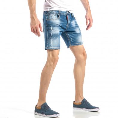 Къси мъжки дънки в синьо с декоративен ръчен шев it040518-82 4