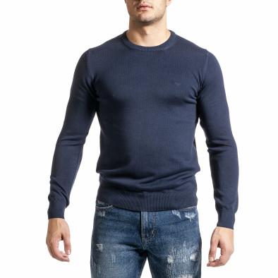 Фин памучен мъжки пуловер цвят деним tr231220-2 2