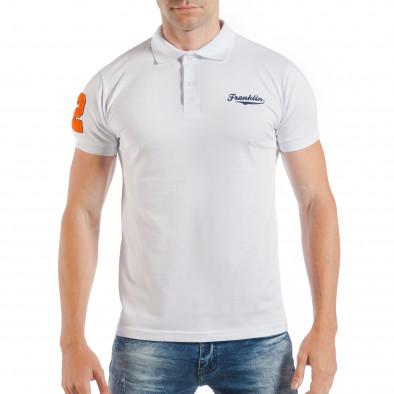 Бяла мъжка тениска тип поло шърт с номер 32 tsf250518-42 2