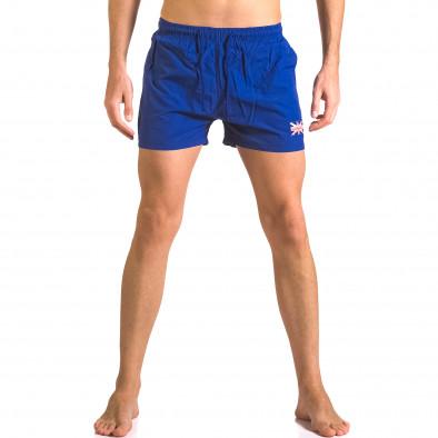Мъжки сини бански шорти с джобове отпред ca050416-7 2