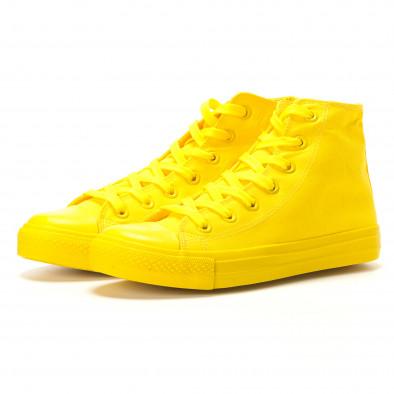 Мъжки жълти високи кецове с гумена част отпред it260117-36 3