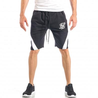 Мъжки черни шорти с бял кант it040518-52 2