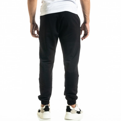Мъжко черно долнище с ципове на джобовете tr020920-4 3