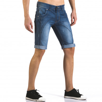 Мъжки къси дънки с допълнителни шевове it110316-70 4