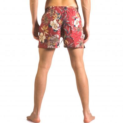 Мъжки червени бански тип шорти на цветя ca050416-21 3