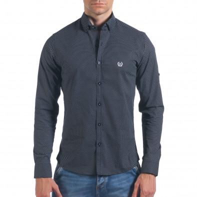 Мъжка черна риза с малки кръстчета il060616-119 2